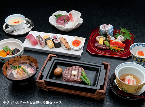 牛フィレステーキとお寿司の懐石コース